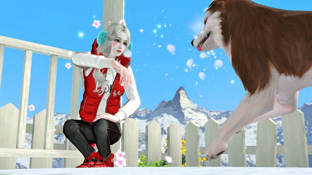 Девушка играет со своей онлайн собакой в игре