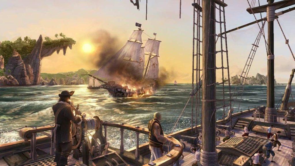 Сражение короблей в море