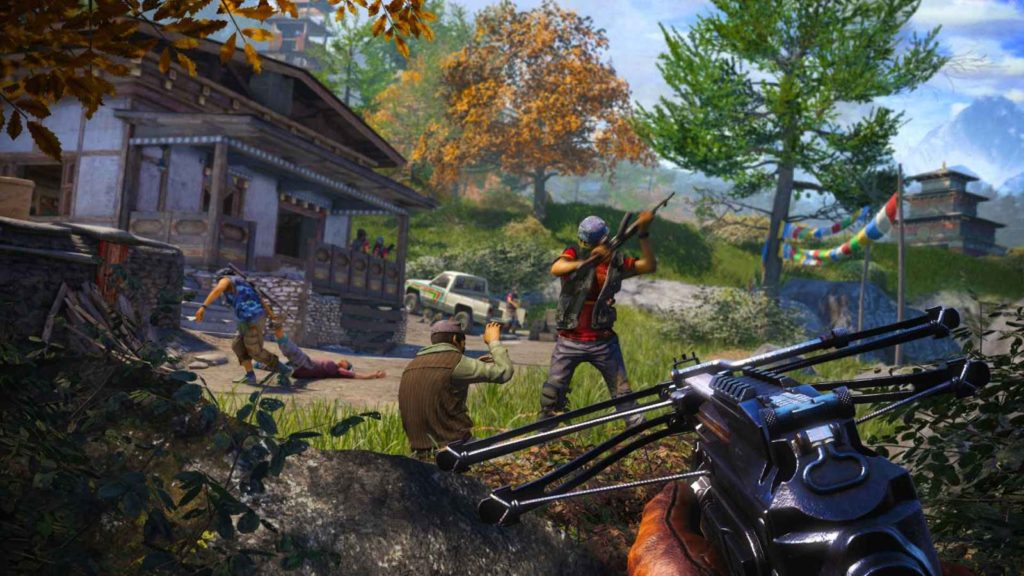 Игрок отбивается от врагов при помощи арбалета