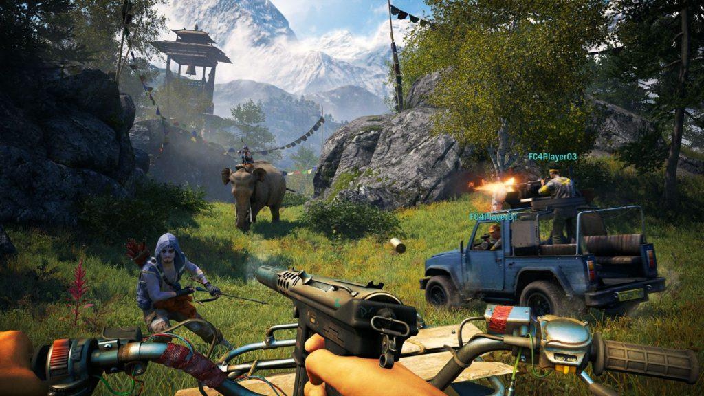 Игрок пытается выжить за рулём мотоцикла